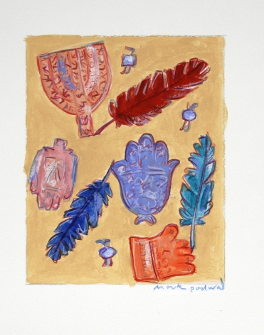 Mark Podwal, Amulets and Angel Feathers (SOLD), 2008, acrylic, gouache & colored pencil on paper, 7 1/2 x 5 3/4 inches