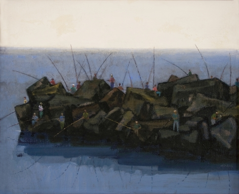 Joseph Hirsch, Breakwater, ND, oil on canvas, 10 1/2 x 12 3/4 inches