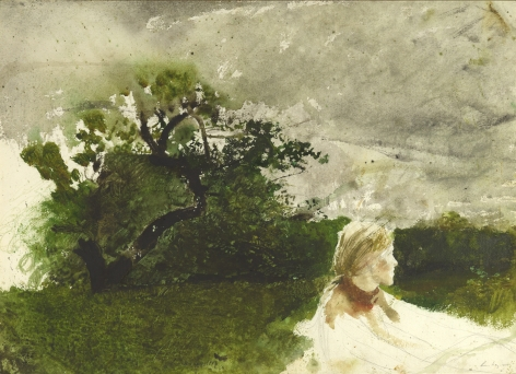 Andrew Wyeth, In the Orchard, 1974 watercolor and graphite on paper 21 5/8 x 29 7/8 inches