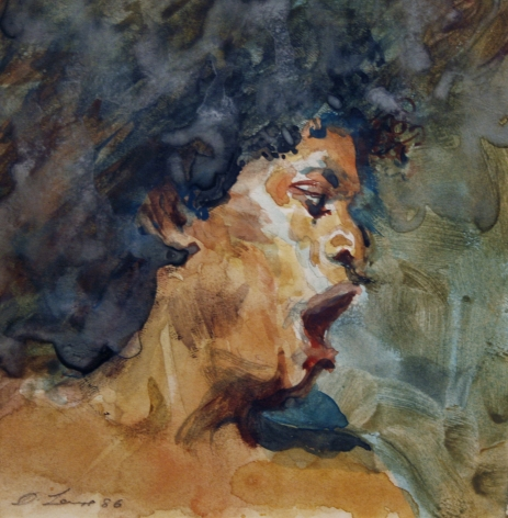 David Levine, Yawn, 1986, watercolor on paper, 5 5/8 x 5 1/4 inches