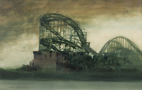 david levine, The Past (SOLD), 2003, watercolor on paper, 12 1/2 x 19 3/4 inches
