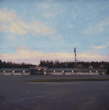Linden Frederick, Seagull Motel (SOLD), 2007, oil on panel, 12 1/4 x 12 1/4 inches