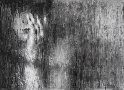 """Alyssa Monks, Rain Drawing"""", 2018, charcoal on paper, 17 1/2 x 24 inches"""