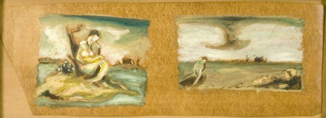 Jackson Pollock, Two Landscapes with Figures, c. 1934-1938, oil on linoleum, 8 7/8 x 25 1/8 inches