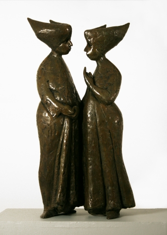 Laura Ziegler, Two Nuns (SOLD), 1974, bronze, 24 h x 11 w x 5 1/2 d inches