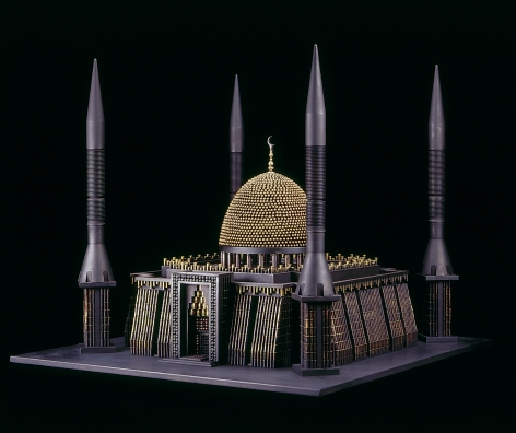 Al Farrow, Mosque III (after National Mosque of Nigeria), 2010, tan killer missiles, bullets, brass, steel, trigger, 25 x 29 x 31 inches