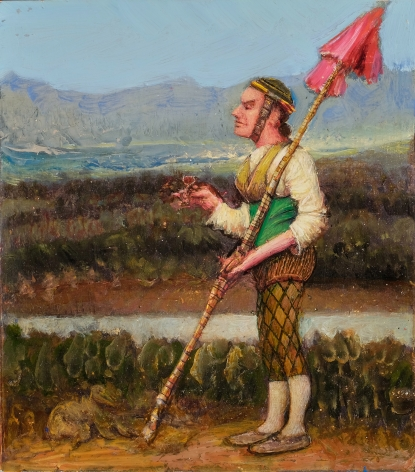 gregory gillespie, Warrior (late version), 2000, oil on panel, 8 5/8 x 9 3/4 inches