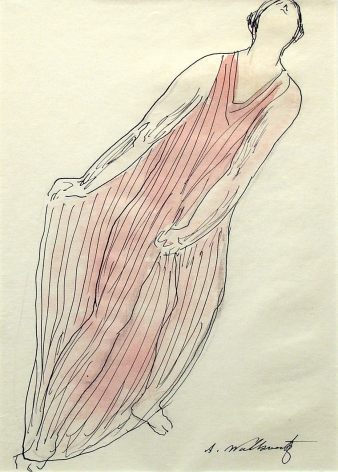 Abraham Walkowitz, Isadora Duncan (SOLD), c.1910, ink, pencil & watercolor on paper, 10 x 8 inches
