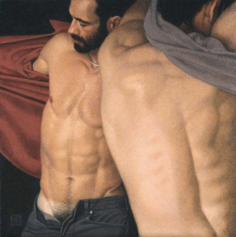 Michael Leonard, Changing Room III (SOLD), 2008, alkyd-oil on masonite, 19 1/2 x 19 1/2 inches