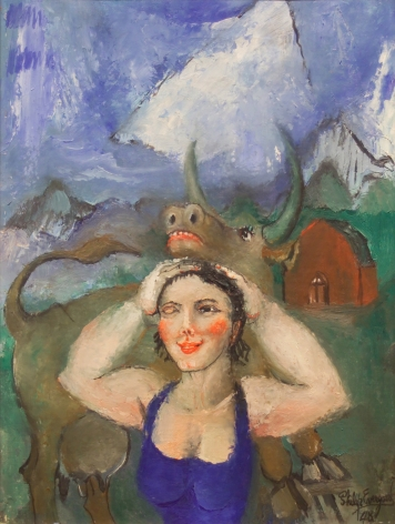 philip evergood, Girl and Soulful Cow, 1948, oil on canvas, 16 x 12 1/4 inches