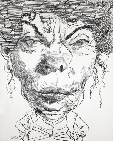 David Levine, Jean Kirkpatrick, 1984, ink on paper, 13 1/2 x 11 inches