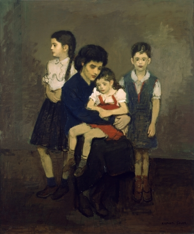 Raphael Soyer, Veronica and her Daughters, 1952, oil on canvas, 42 x 35 inches