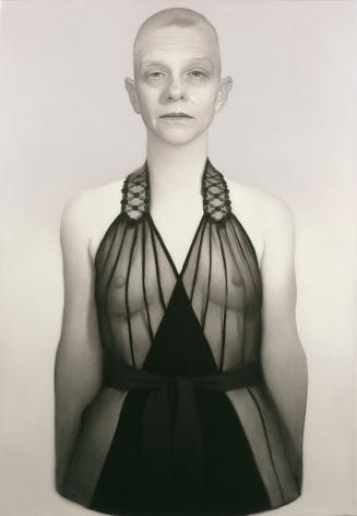 susan hauptman, Self-Portrait (La Perla #1), 2006, charcoal on paper, 54 x 40 inches