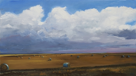 William Beckman, Bales #7, 2020, oil on panel, 7 1/4 x 12 inches