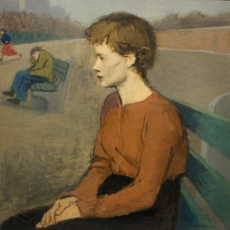 Raphael Soyer, Girl in Park, c. 1951, oil on canvas, 20 3/8 x 20 inches