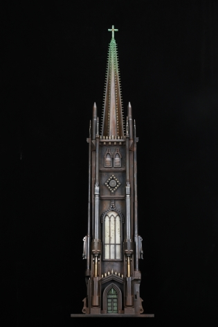 Al Farrow, Sketch of Trinity Church, 2014, guns, bullets, cartridge shells, steel, glass, 51 ½ x 12 x 7 inches
