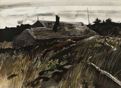 Andrew Wyeth, Back Country (SOLD), 1951, watercolor on paper, 20 x 27 3/4 inches