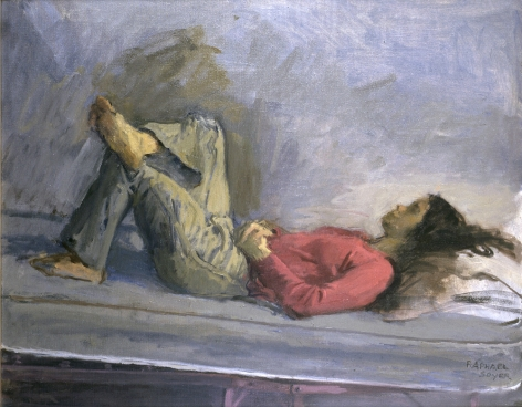 Raphael Soyer, Girl in Red Sweater and Jeans, 1974, oil on canvas, 22 x 28 inches