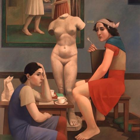 Alan Feltus, Gallery Tea, 1991, oil on linen, 38 1/4 x 39 1/4 inches