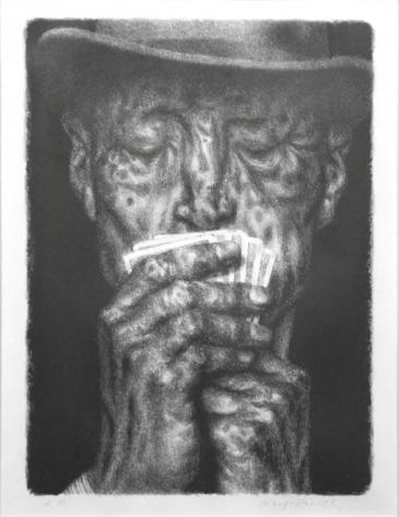 Joseph Hirsch, The Shark (Poker Player), nd, black & white lithograph, 12 x 9 inches