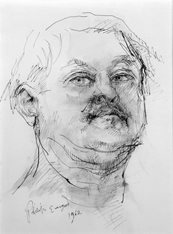 Philip Evergood, Self-portrait of the Artist at Age 60, 1962, pen and black ink, brush and gray wash on paper, 11 x 8 inches