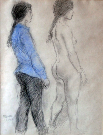 Raphael Soyer, Study: Figure Nude and Clothed, c. 1970, watercolor over pencil on paper, 13 1/2 x 10 1/4 inches