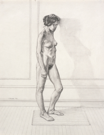 "William Beckman, Study for ""Diana #1"", facing right, 1972, pencil on paper, 23 x 18 inches"