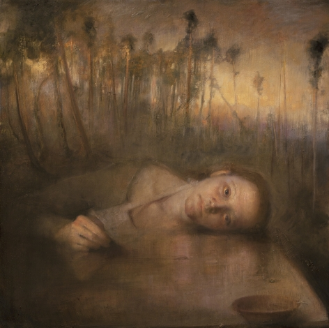 odd nerdrum, Sandra by the Stone Table, oil on canvas, 31 1/3 x 31 1/3 inches
