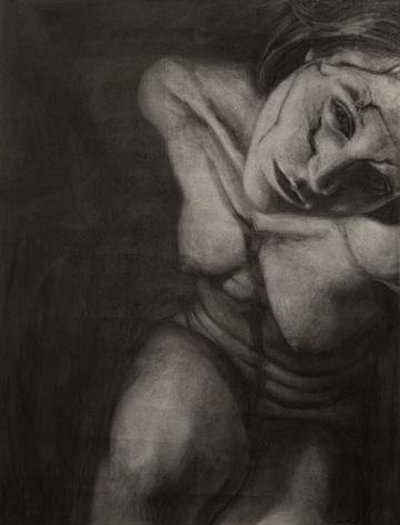 alyssa monks, Origin, 2016, charcoal on paper, 24 x 19 inches