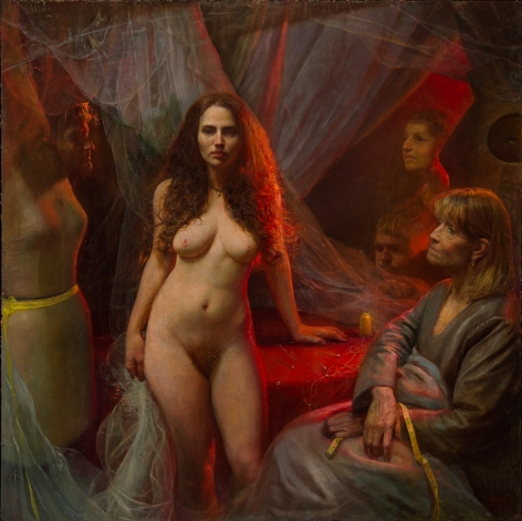 Steven Assael, Bridal Preparation, 2015, oil on canvas, 68 x 68 inches
