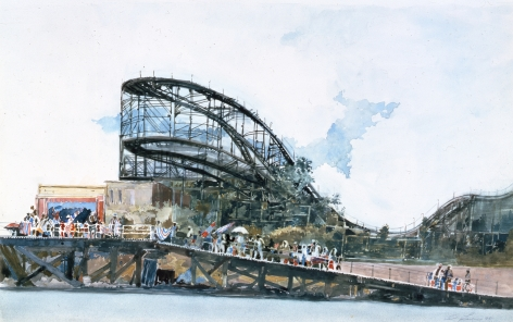 David Levine Ramp, Crowd and Ride (SOLD), 1995, watercolor on paper, 13 3/4 x 22 inches