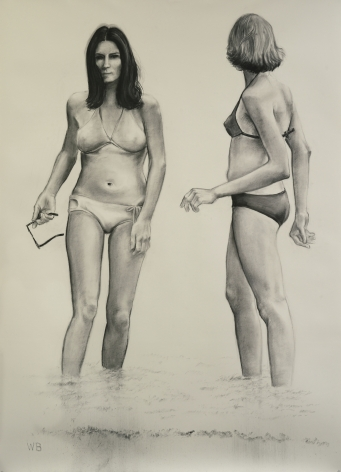 William Beckman, Bathers, 2018, charcoal on paper, 98 3/4 x 72 inches