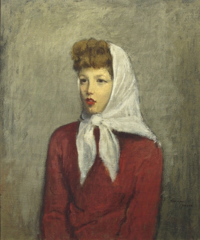 Raphael Soyer, Woman with Scarf, c. 1942, oil on canvas, 23 1/2 x 19 1/2 inches