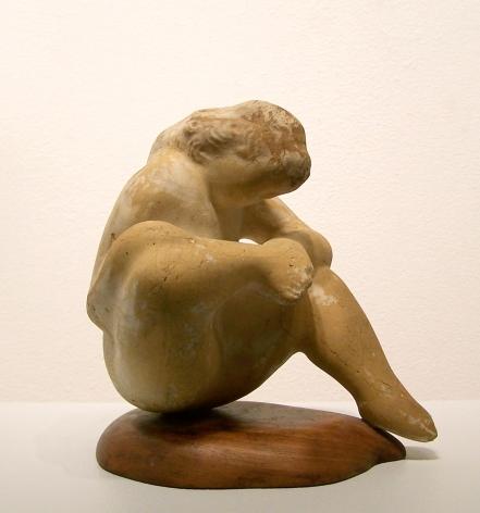 elie nadelman, Female Figure Examining Foot, c. 1930 - 1935, ceramic on wood base, 7 x 6 x 5 1/2 inches
