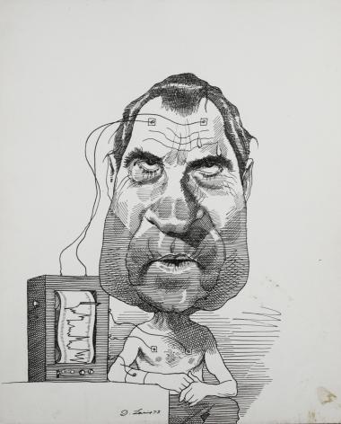 David Levine, Nixon & Lie Detector, 1973, ink on paper, 13 3/4 x 11 inches