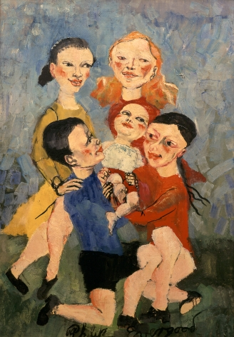 philip evergood, Happy Children (SOLD), 1946, oil on panel, 30 x 21 inches