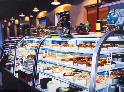 megan rye, Grand Central Station Food Court 4, 2012, oil on canvas, 30 x 42 inches