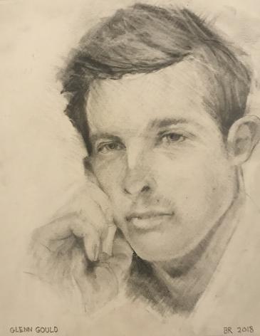 Brian Rutenberg, Glenn Gould, 2018, pencil on paper, 7 3/4 x 6 inches