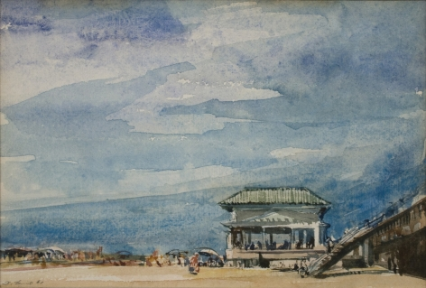 david levine, Untitled (Beach House), 1961, watercolor on paper, 4 3/4 x 6 3/4 inches