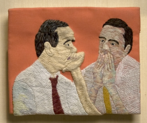 Darrel Morris, Office Gossip, 1995, embroidery and applique, 5 1/4 x 6 1/2 inches