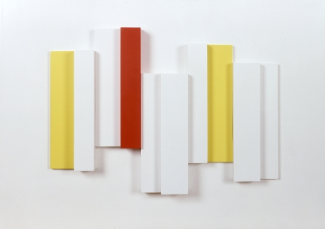 Eli Bornstein, Structurist Relief  No. 13 (SOLD), 1957, enamel on wood, 13 1/4 h x 18 1/2 w x 2 d inches