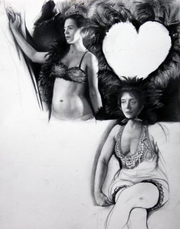 Steven Assael, Women with Feathers, 2008, crayon and graphite on paper, 14 x 11 inches