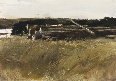 Andrew Wyeth, Dock Pilings, 1962 watercolor on paper 13 3/4 x 19 inches