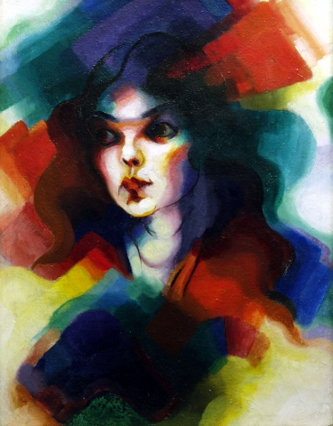 stanton macdonald-wright, Portrait of a Woman, c. 1925 oil on canvas 21 1/2 x 16 3/4 inches