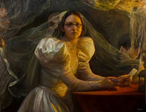 steven assael, Bride with Cards (SOLD), 2011, oil on canvas, 36 3/8 x 48 inches