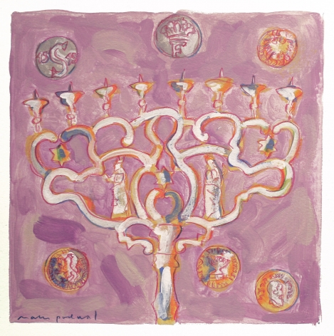 Mark Podwal, Hanukkah Coins and Renaissance Coins (SOLD), 2008, acrylic, gouache and colored pencil on paper, 12 x 12 inches