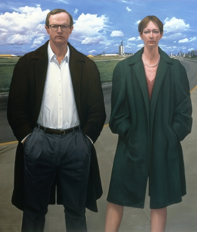 William Beckman, Study for Overcoats (CC Elevators) (SOLD), 1999, oil on canvas, 14 1/4 x 18 1/6 inches
