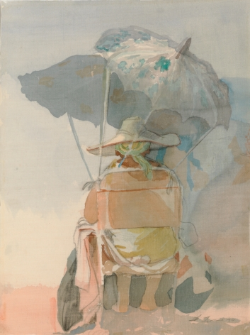 David Levine, Untitled (Beach Umbrella), 1984, watercolor on silk, 12 x 9 inches