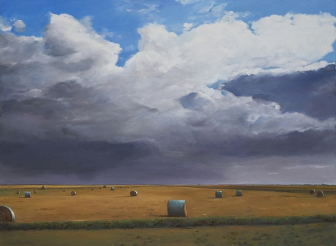 William Beckman, Bales #4, 2018, oil on canvas, 73 x 99 1/2 inches