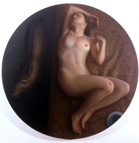 "wade schuman, Woman with Pig (SOLD), 2001, oil on linen, 48"" diameter"